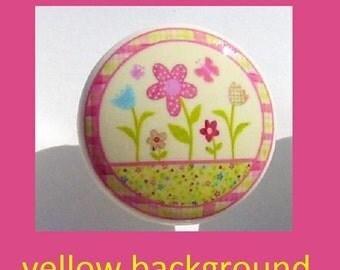 1 (one)  HAPPY FLOWERS Yellow Print kids girls baby mtm bedding set Dresser Drawer Knob