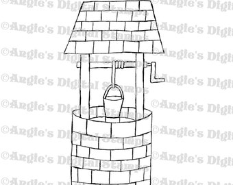 Wishing Well Digital Stamp Image