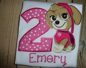 Paw Patrol Birthday Shirt , Skye Paw Patrol Birthday Shirt and Free Personalization