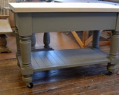 Large Kitchen Island Solid 2 Inch Maple Top And Charcoal Gray Legs And Shelf On Casters