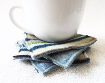 Coasters PURPLE & BLUE Green Striped Wool Coasters / Upcycled Mug Rugs / Felted Wool Coasters / Blue Coasters Handmade by WormeWoole