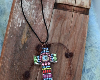 Bohemian Cross with Evil Eye Easter