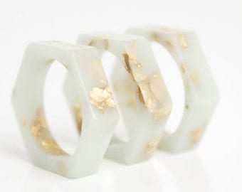mint gold ring size 6 hexagonal eco resin ring with gold leaf flakes