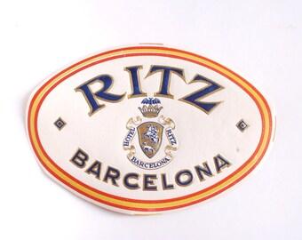 Vintage Hotel Ritz Barcelona luggage label, Spain, original unused paper ephemera, embossed decal, sticker, baggage, gummed, vacation travel