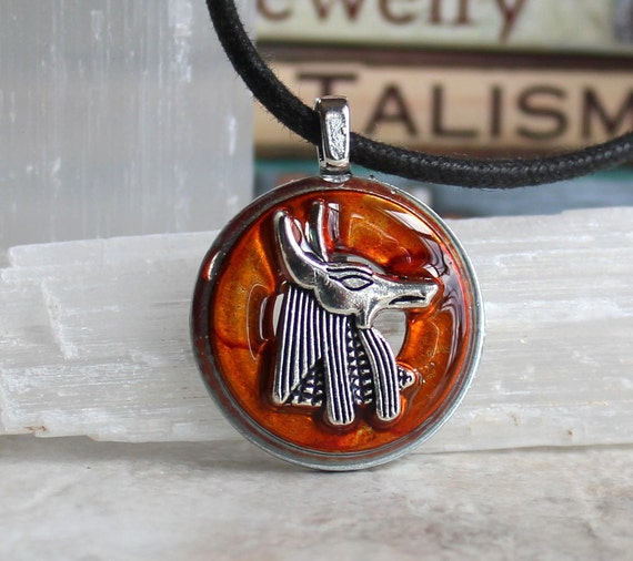 orange Anubis necklace, Anubis jewelry,  Anpu necklace, Egyptian necklace, Egyptian jewelry, mens jewelry, mens necklace, unique gift