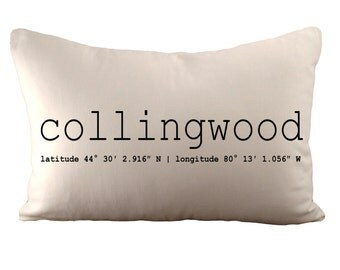 Collingwood Coordinates Or Custom - Cushion Cover - 12x18 - Choose your fabric and font colour