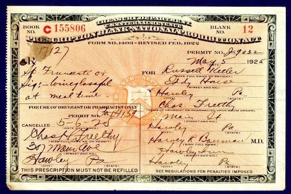Antique 5/5/25 5/6 Cora's 1850 Bistro Prohibition Whiskey Medicine Prescription Doctor Hawley PA Inn Restaurant Speakeasy Pharmacy Bar