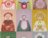 25 % Christmas SALE Matryoshka big print / folk art