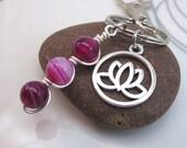 magenta agate keychain - pink gemstone keyring - lotus flower keychain - bag charm  wire wrapped gemstone bead stack -  swivel clasp -silver