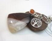brown agate slice keychain - brown gemstone keyring - brown agate bag charm - tree of life keychain - silver  swivel clasp new age yoga