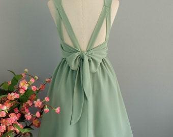 Party V Backless Dress Pale Sage Green Backless Dress Sage Green Party Cocktail Dress Backless Bridesmaid Dress Sage Green Sundress XS-XL