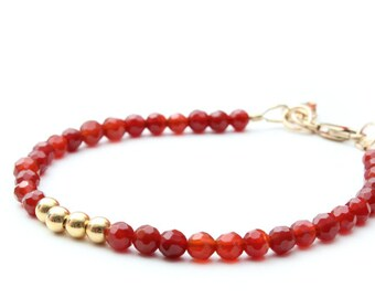 the Lucky Elephant Charm Bracelet, Faceted Carnelian 14k Gold-Filled Clasp, the Lucky Elephant Original with Signature Gold Elephant Charm