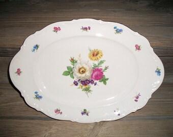 Vintage Floral Platter,Mitterteich Bavarian Platter