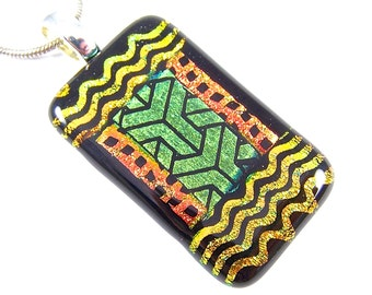 "Dichroic Pendant - Golden Yellow Orange Army Green Dicro w Black & Bronze Copper Accents - 1.5"" 38mm Geometric Patterned"