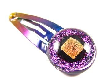 "Dichroic Glass Hair Clip - Pink Fuchsia Orange Copper Dichro Fused Glass Rainbow Anodized Metal Snap Clip - 1/2"" 12mm"