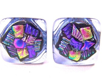 """SET of TWO Dichroic Knobs - Cabinet or Drawer Pull Handle - 1"""" / 25mm - Pink Magenta Fuchsia Purple Lavender Violet Fused Glass"""