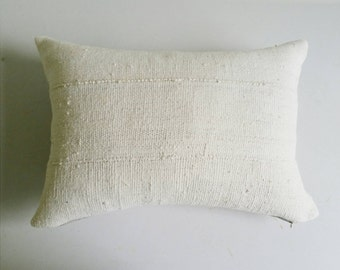 White Mudcloth Pillow Cover - Boho Throw Pillows - Earthy Bohemian Pillow