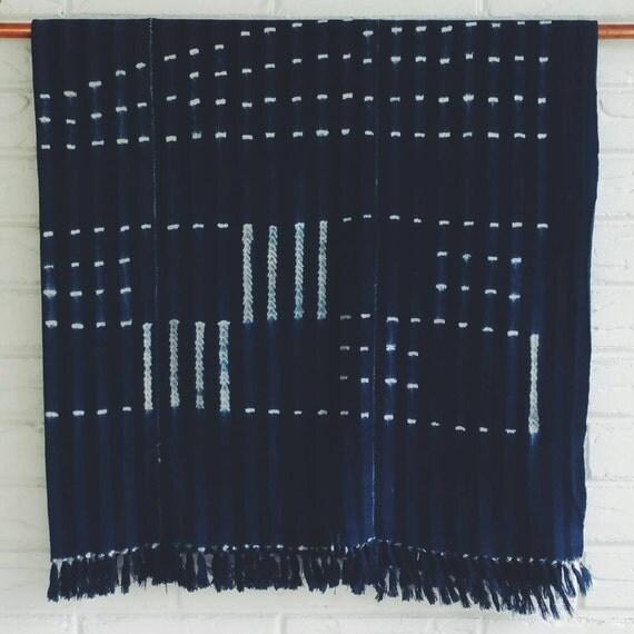 Vintage Indigo Mudcloth Blanket African By Habitationboheme