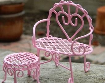 Fairy Garden Accessories, Miniature Garden Accessories,Fairy Furniture, Valentine's Day Bench, Dollhouse Furniture