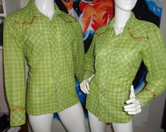 1950s 60s 2 Western Shirts His n Hers Green Check Gold Ric Rac Square Dance Couple Womens Small Mens X Large Rockabilly VlV Nashville Boogi