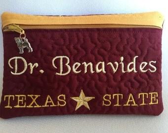 Texas State University Bobcats Zipper Pouch Bag