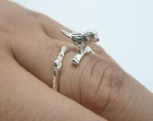 3pcs 12x18x25mm Silver Plated Adjustable Bird Rings Nature Delicate Silver Bird on Branch Twig c8352