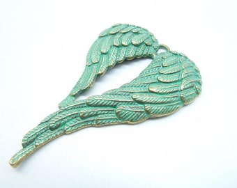 3pcs 46x68mm Wing Rustic Charms, Bronze with Green Patina Angel Wings Wing Rustic Patina Charms Pendant c8200
