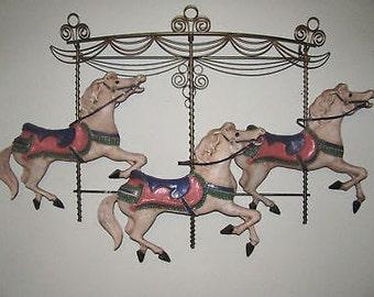 Carousel Horses Art Sculpture Curtis Jere Artisan House Wall Decor Rare