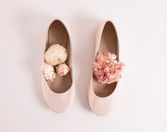 Almond Blush Bridal Ballet Flats | Wedding Flat Shoes | Dance Shoes | Almond Blossom | Ready to Ship