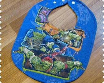 TMNT Baby Bib, Teenage Mutant Ninja Turtles Recycled T-Shirt Baby Bib, Baby Boy Baby Shower Gift