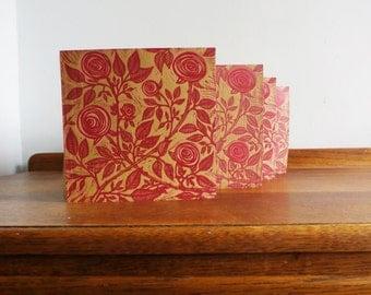 Linocut Cards Set of 4, Roses, Original Hand Printed Cards, Blank Greeting Cards, Brown Kraft Cards, Free Postage in UK,
