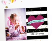 Glitter Valentine Card - Kids Valentines Cards with Photo - PRINTABLE or Printed Invitations
