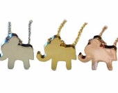 Tiny Elephant Necklace Gold Silver Rose Gold Dainty Elephant necklace Personalized Initial Necklace