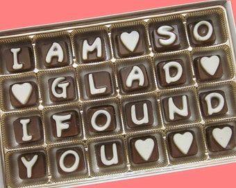 Romantic Girlfriend Gift for Her Boyfriend Gift for Him  Custom Name I Am So Glad I Found You Cubic Chocolate Letters International Shipping