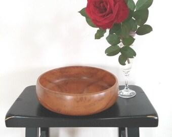 "Large 10"" Teak Wood Bowl Thailand Mid Century Modern Dough Bowl Medium Grain"