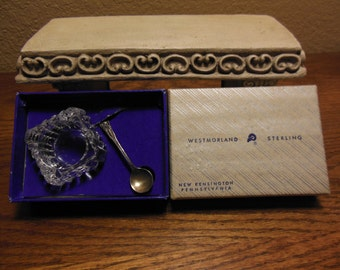 Westmoreland Sterling Spoon & Salt Boxed, John and Priscilla Pattern