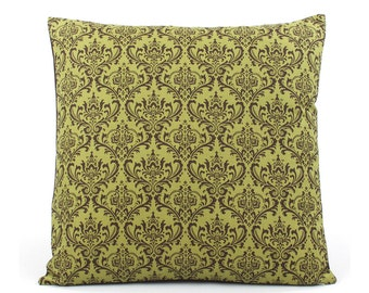Green Damask Pillow Cover 18x18 with Polka Dots, Reversible, Green Pillow, Throw Pillow, Toss Pillow, Cushion Cover, Green Traditions