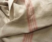 Linen heavy fabric with 2 stripes---Natural olor-- fine textile--home decor--soft