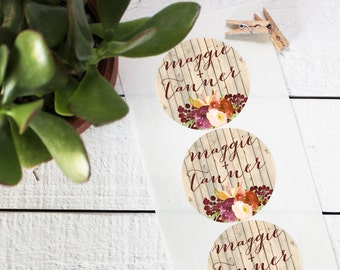 Wedding Favor Labels - Fall Rustic Design - Round - Fall Favor Labels | Floral Favor Labels | Round Favor Labels | Favor Box Labels