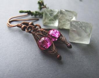 Pink Boho Earrings, Retro Copper Jewelry, Gift for Her, Sweet Pink Dangle Earrings