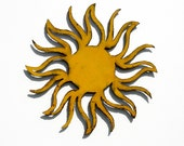 "SUN Metal Wall Art - 16"" Garden Art - indoor outdoor - choose your patina color with rust accents patina"