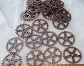 "10 Identical Pieces 1"" Antique Copper Gears Pieces Lot New Steampunk Watch Parts Clock Wheels"
