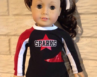 18 Inch or 15 Inch Dolly Red/Black Cheerleader Uniform
