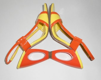 Yellow Orange Open Wedge High Heels, Women Size 7, Vintage Slingbacks