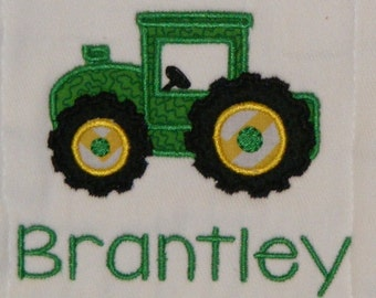 Tractor, tractors, tractors! - Personalized Burp Cloth SINGLES