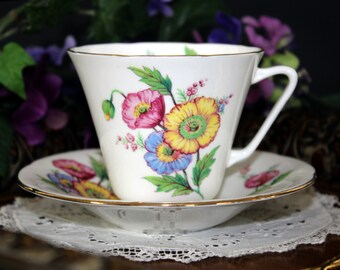 Royal Grafton Teacup and Saucer, English Bone China Teacup, Colorful Poppies 13273