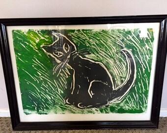 Original Black Cat Painting by Paulson 1990