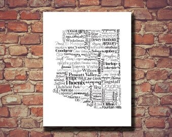 Arizona Print, Arizona Map, Typography, AZ, Art, State Map, Wedding Gift, Personalized, Print, Custom, Cities, Housewarming Gift, Phoenix