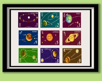 Space Print. Vintage Solar System Stamps A2 ( 60 X 40 cm ) Poster