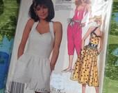 McCall's 2513 Cute Vintage 80s Halter Romper, Dress, Pantsuit Sewing Pattern 32 1/2 Inch Bust